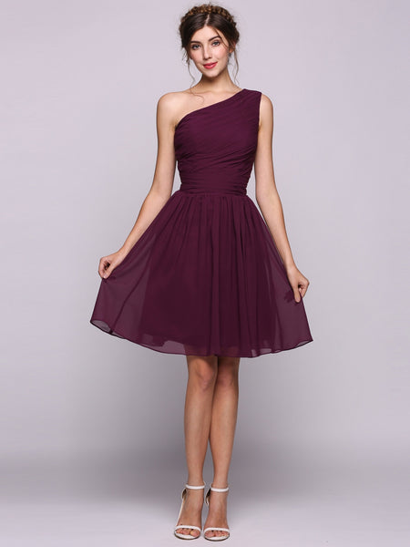 Women Chiffon Ruffle One-shoulder Knee-length Bow Bridesmaid Dress