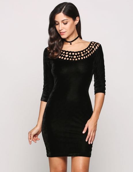 Black Velvet 3/4 Sleeve Round Collar Hollow Out Solid Bodycon Going Dress