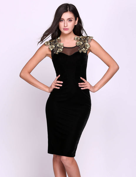 Sexy Women Velvet Sleeveless Appllique Back Lace-up Bodycon Party Dress