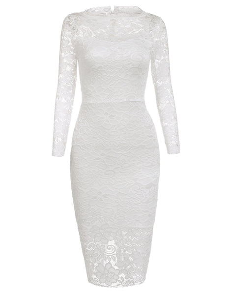White Lace 3/4 Sleeve Round Collar Sexy Package Hip Party Dress