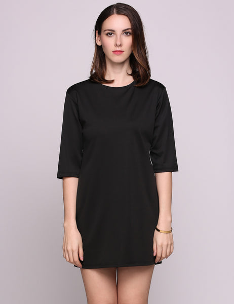 Black Half Sleeve Round Collar Back Button Solid Straight Going Out Dress
