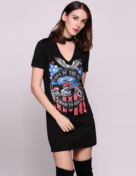 Gray Short Sleeve Chocker V Neck Sexy Animal Print Going Out Dress