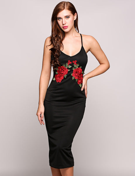 Black Sexy Spaghetti Strap Sleeveless Embroidery Strap Pencil Dress