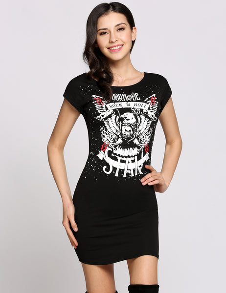 Short Cap Sleeve Round Collar Animal Print Silm T-Shirt Casual Dress