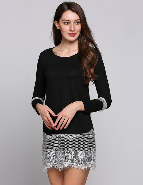 Black Lace Hem Long Sleeve Crew Collar Loose Patchwork Casual Dress