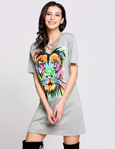 Short Sleeve V Neck Chocker Animal Print T-Shirt Casual Dress