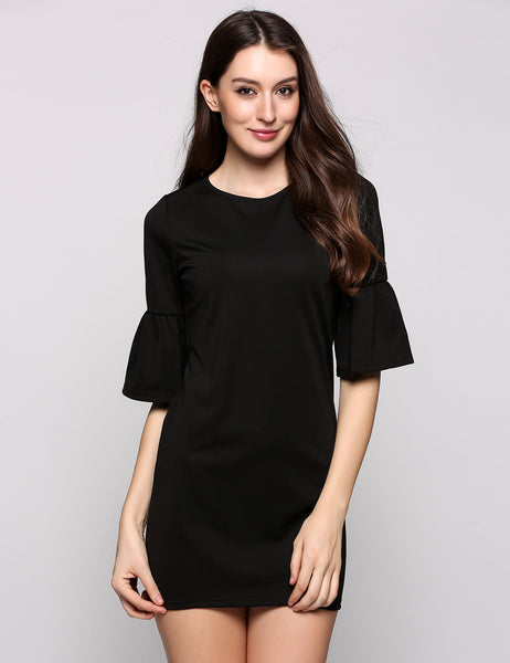 Black Half Bell Sleeve Round Collar Solid Sheath Going Out Dress