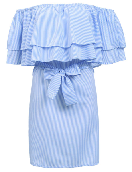 Ruffle Slash Neck Off the Shoulder Short Sleeve Striped Dress with Belt