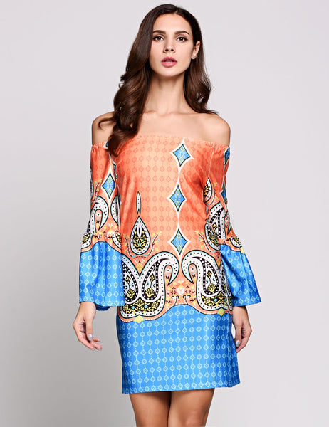 Pattern Bell Sleeve Off The Shoulder Ethnic Styles Paisley Going Out Dress