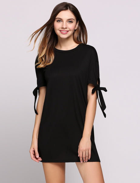 Short Sleeve Round Collar Bow Solid T-Shirt Casual Dress