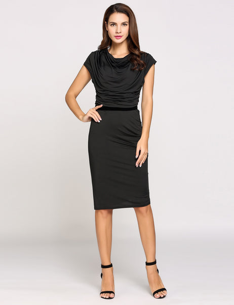 Black Cap Sleeve Cowl Collar Belted Solid Ruched Going Out Dress