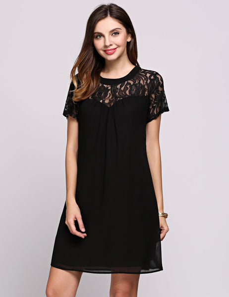 White Short Illusion Sleeve Round Collar Lace Patchwork Shift Going Out Dress
