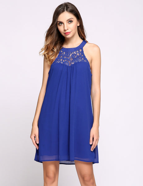 Blue Sleeveless Halter Collar Illusion Lace Patchwork Keyhole Going Out Dress
