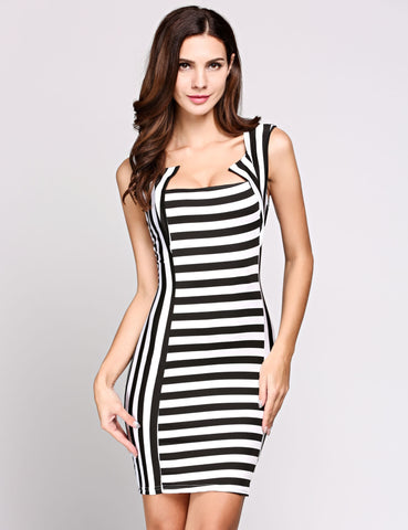 Sleeveless Square Collar Silm Stripes Bodycon Work Dress