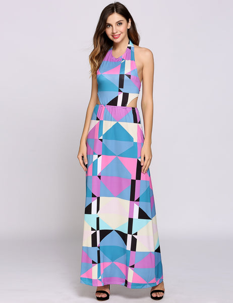 Sleeveless Halter Collar Boho Styles Geometric Patchwork Cut Out Backless Casual Dress