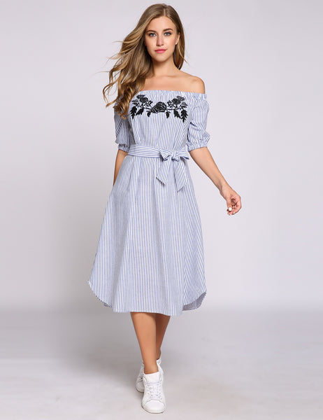 Half Puff Sleeve Off The Shoulder Embroidery Striped Belted Casual Dress