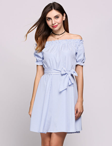 Short puff Sleeve Off The Shoulder Elastic Stripes Belted Going Out Dress