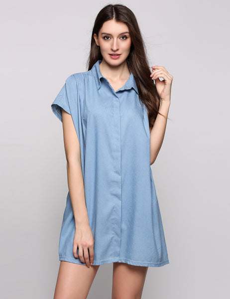 Short Sleeve Turn down Collar Solid Loose Shirt Casual Dress