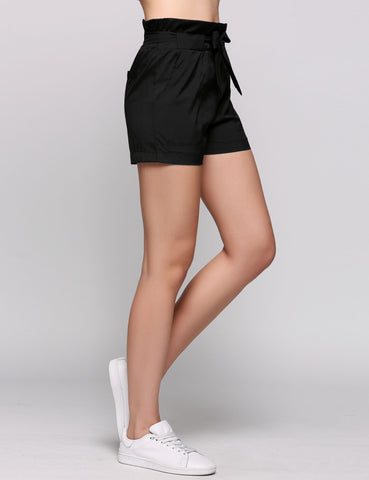 Solid High Waist Pleated Slim Bow Shorts