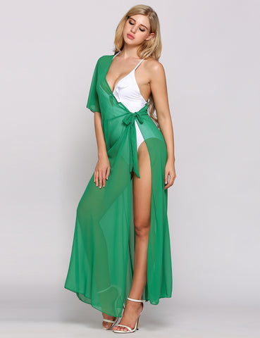 Green Solid One Shoulder Split Lace Up Loose Beach Cover