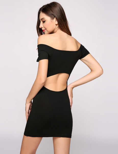 Short Sleeve Off The Shoulder Solid Backless Pencil Going Out Dress