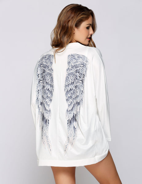 Batwing Long Sleeves Wing Printed Casual Cardigans