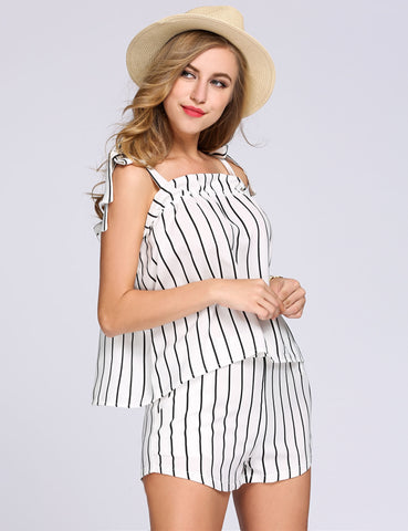 Striped Lace Up Strap Ruched Top and Shorts Set