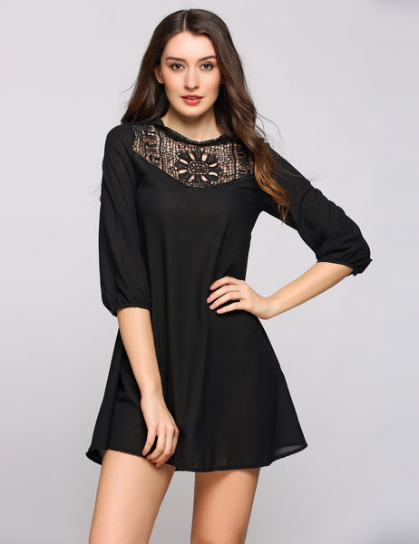 Black 3/4 Puff Sleeve Lace Patchwork A-Line Dress