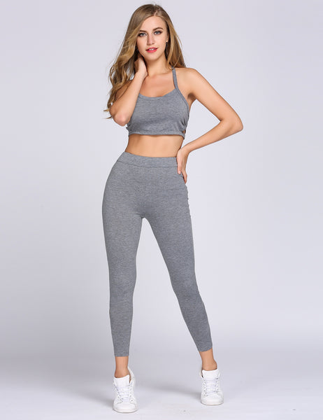 Solid Halter Crop Cami Top and High Waist Pants Set