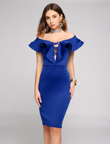 2017 New Off The Shoulder Criss Cross Front Ruffled Trim Pencil Dress