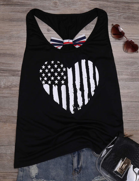 American Flag Printed Back Bow Decoration Sleeveless Tank Top