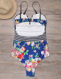 Floral Printed Spaghetti Strap Push Up One Piece Swimsuit