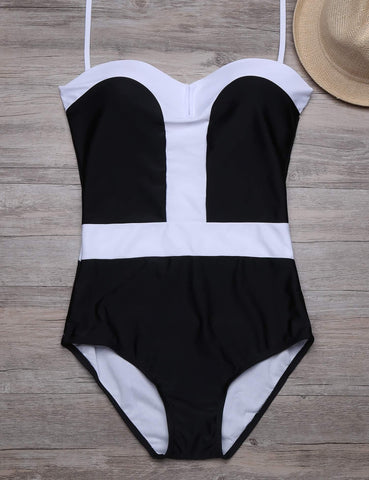 Contrast Color Push Up High Waist One Piece Swimsuit