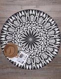 Printed Contrast Color Round Mandala Beach Blanket