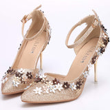 Flower Glitter Strap Ankle Pointed Toe Stiletto High Heel Pumps For Wedding Party