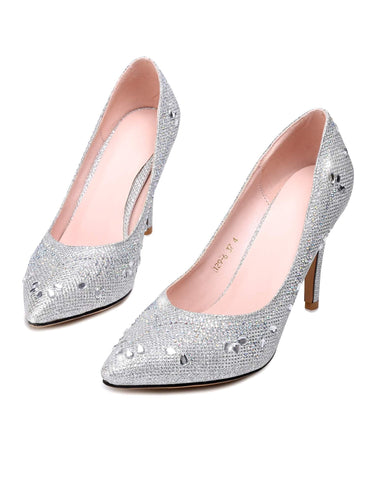 Silver Rhinestone Glitter Pointed Toe Stiletto High Heel Pumps For Wedding Party