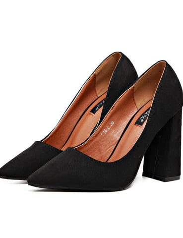 Black Stylish Solid Extreme high heeled Chunky Point Toe Pumps for Woman Heels