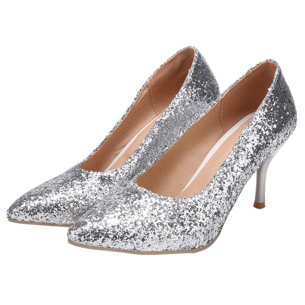 Stylish Glitter Pointed Toe Stiletto High Heel Pumps For Wedding Party
