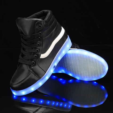 Black LED Light Up Ankle Solid Synthetic Leather Sneaker with USB Charger