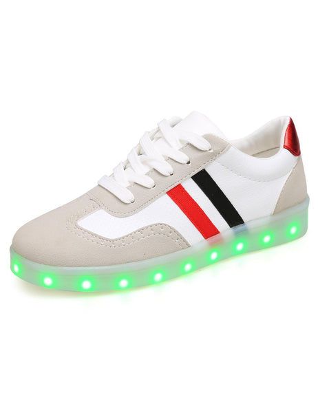 LED Light Up Patchwork Round Toe Synthetic Leather Flatform Sneakers