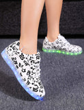 Casual LED Light Up Prints Round Toe Synthetic Leather Sneakers