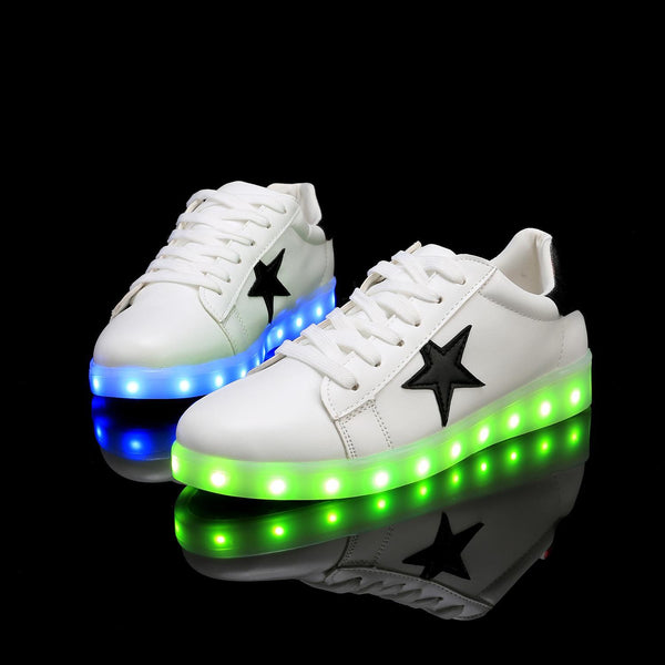 Black Unisex LED Light Star Pattern Round Toe Lace Up Sneakers