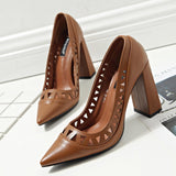 Casual Women Solid Hollow Out Pointed Toe Thick High Heel Pumps