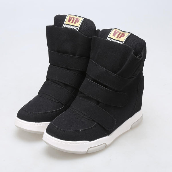 Black Women's Wedge Sneaker Casual Height Increasing 6cm Sports Shoes
