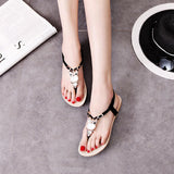 Black Bohemia Owl Clover Elastic Slingback Toe Post Sandals
