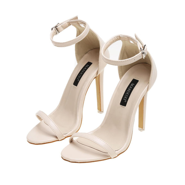 Beige Solid Color Buckle Ankle-Strap Stiletto Heels High Heel Sandals