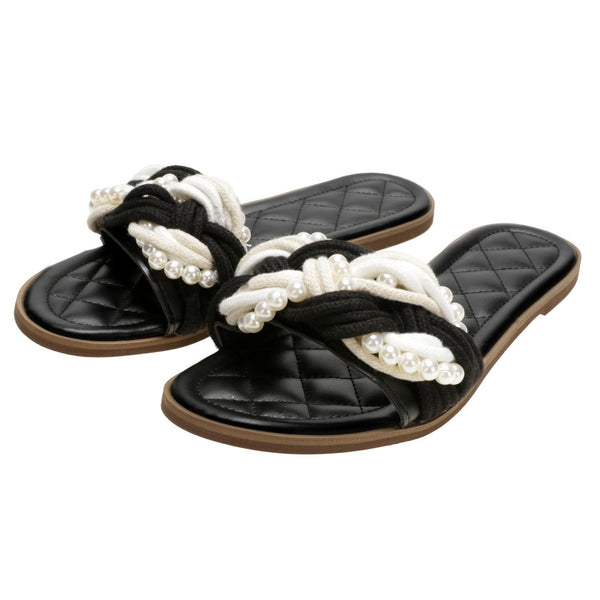 Black Casual Beading Patchwork Summer Slides Flat Sandals