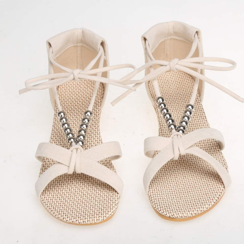Beige Boho Style Cross Strap Peep Toe Beading Strappy Sandals