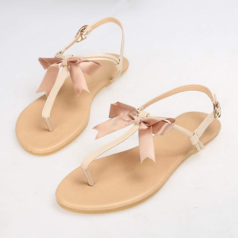Beige Bow T-Shape Casual Flat Beach Sandals