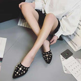 Black Casual Artificial Pearl Faux Suede Point Toe Slippers Shoes